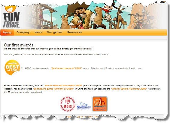 Funforge对于玩桌游网奖项的报道