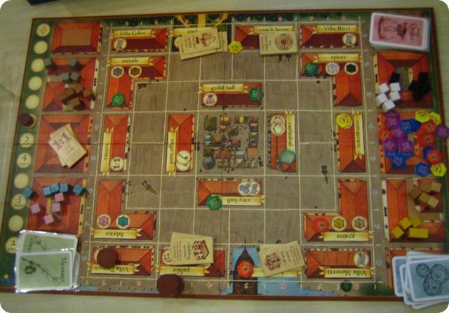 这时候我(绿色)控管了五个建筑,阿Shan(红色)两个,张欣(黄色)两个